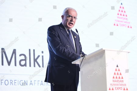 Foreign Affairs Minister of the Palestinian National Authority Riyad al-Maliki delivers a speech during the Warsaw Humanitarian Expo in Nadarzyn, near Warsaw, Poland, 11 June 2019. The Warsaw Humanitarian Expo is to increase the activity of the business sector in providing humanitarian aid throughout the world and to intensify public debate on humanitarian aid.