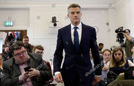 Conservative Party leadership contender Mark Harper arrives to launch his campaign, in London, . The Conservatives are holding an election to replace Prime Minister Theresa May, who resigned as party leader last week after failing to lead Britain out of the European Union on schedule