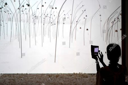 A visitor takes pictures of the artwork 'Animitas blanc' by French artist Christian Boltanski during the press preview of the 'Christian Boltanski - Lifetime' exhibition at the National Art Center in Tokyo, Japan, 11 June 2019. The exhibition presents almost 50 artworks by the artist and will be open to the public from 12 June to 02 September 2019.