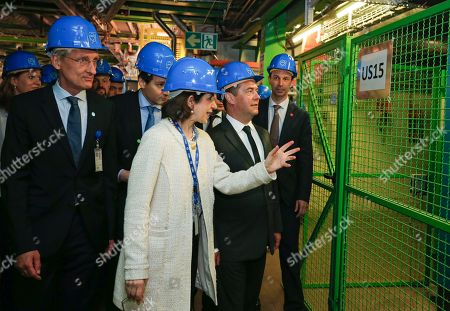 Russian Prime Minister Dmitry Medvedev (C) and CERN (European Council for Nuclear Research) director general Fabiola Gianotti (L) lduring a tour of CERN in Geneva, Switzerland, 10 June 2019 (issued 11 June 2019).