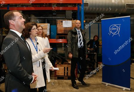 Russian Prime Minister Dmitry Medvedev (L) and CERN (European Council for Nuclear Research) director general Fabiola Gianotti (2-L) lduring a tour of CERN in Geneva, Switzerland, 10 June 2019 (issued 11 June 2019).