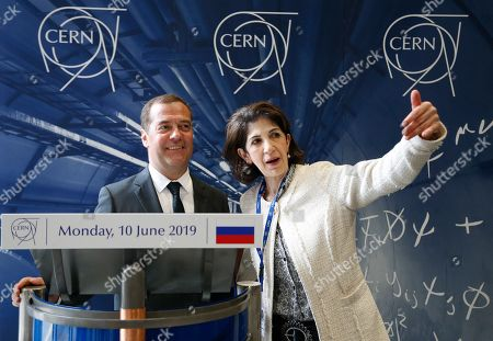 Russian Prime Minister Dmitry Medvedev (L) listens to CERN (European Council for Nuclear Research) director general Fabiola Gianotti (R) during their meeting at the CERN in Geneva, Switzerland, 10 June 2019 (issued 11 June 2019).