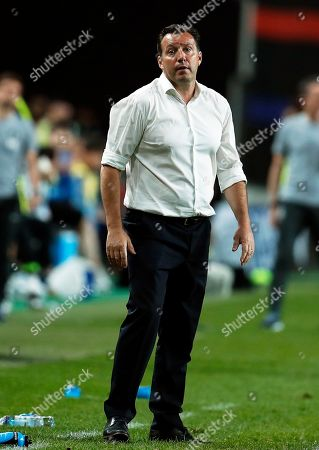Stock Image of Iran's head coach Marc Wilmots reacts during the International Friendly soccer match between South Korea and Iran at the Seoul World Cup Stadium in Seoul, South Korea, 11 June 2019.