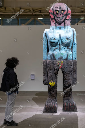 Stock Photo of The artwork We Come In Peace (2018) by Pakistani-American artist Huma Bhabha is on display at the show Art Unlimited in the context of the international art show Art Basel, in Basel, Switzerland, 11 June 2019. Unlimited is Art Basel's exhibition platform for projects that transcend the limitations of a classical art-show stand, including out-sized sculpture and paintings, video projections, large-scale installations, and live performances.