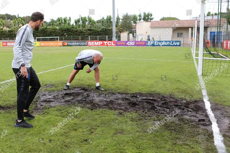 England Manager, Paul Simpson, inspects the goalmouth ahead of kick-off during Guatemala Under-23 vs England Under-20, Tournoi Maurice Revello Football at Stade Marcel Cerdan on 11th June 2019