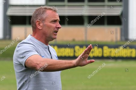 England Manager, Paul Simpson, doesn't want the match to proceed owing to the condition of the pitch during Guatemala Under-23 vs England Under-20, Tournoi Maurice Revello Football at Stade Marcel Cerdan on 11th June 2019
