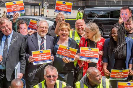 Mark Serwotka, General Secretary of the PCS and Emily Thornberry MP, the Shadow Secretary of State for Foreign and Commonwealth Affairs joins strikers outside Parliament