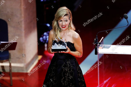 Polar award winner, German violinist Anne-Sophie Mutter accepts her award during the 2019 Polar music price ceremony at the Grand Hotel in Stockholm, Sweden, 11 June 2019.
