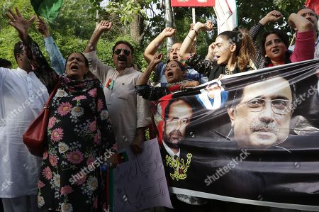 Supporters of opposition party Pakistan Peoples Party protesting because of the economic condition and arrest of party's chairman and former President Asif Ali Zardari by the accountability body NAB, in Peshawar, Pakistan, 11 June 2019. Zardari was arrested by NAB after Islamabad High Court on 10 June rejected the extension in bail of Zardari in a case pertaining to the alleged laundering of billions through fake bank accounts.