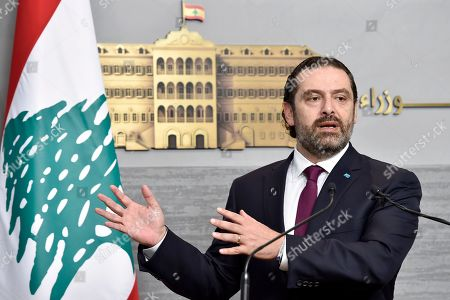 Lebanese Prime Minister Saad Hariri speaks during a news conference at the Government Palace in Beirut, Lebanon, 11 June 2019. Hariri, who returned to Beirut on 11 June 2019 after spending the Eid al-Fitr holiday abroad with his family, was given in response to a spat between his Future Movement and the Free Patriotic Movement, founded by Aoun and now run by his son-in-law Gebran Bassil.