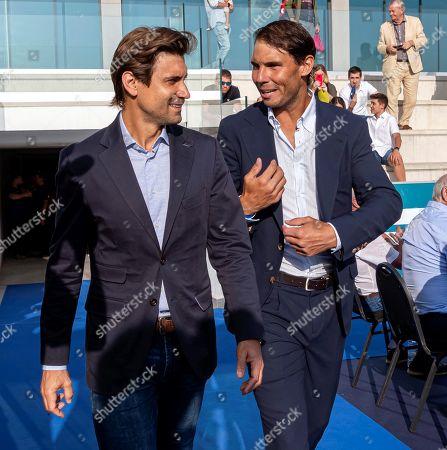 Spanish tennis player Rafa Nadal (R) and former player David Ferrer (L) attend the graduation ceremony of Rafa Nadal Academy, students of American International School of Mallorca, in Manacor, Balearic Islands, Spain, 11 June 2019.