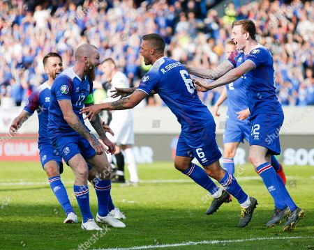 Stock Picture of Iceland Turkey Euro 2020 Soccer. The Icelandic team celebrates Ragnar Sigurdsson's second goal against Turkey, during the Euro 2020 group H qualifying soccer match between Iceland and the Turkey at Laugardalsvollur stadium in Reykjavik, Iceland