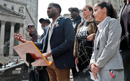 "Queens District Attorney candidate Tiffany Caban, far right, and New York Public Advocate Jumaane Williams, third from left, join a coalition of civil rights activists at a press conference, calling for an investigation of former Assistant District Attorney Linda Fairstein, in New York. The group is ""demanding"" that Manhattan District Attorney Cyrus Vance appoint an independent investigation to review Fairstein's roll in the rape conviction of the ""Central Five,"" who were all exonerated by DNA evidence-- supporting their claim of false conviction"