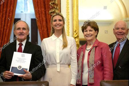 United States Senator Jim Risch (Republican of Idaho), First Daughter and Advisor to the President Ivanka Trump, United States Senator Jeanne Shaheen (Democrat of New Hampshire), and United States Senator Ben Cardin (Democrat of Maryland) attend a Women, Peace, and Security Roundtable with the U.S. Foreign Relations Committee at the U.S. Capitol