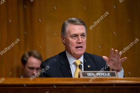 United States Senator David Perdue (Republican of Georgia) speaks during the U.S. Senate Caucus on International Narcotics Control hearing