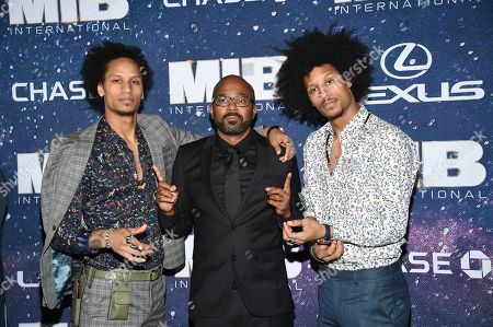 """Larry Bourgeois, Inny Clemons, Laurent Bourgeois. Actors Larry Bourgeois, left, Inny Clemons and Laurent Bourgeois attend the world premiere of """"Men in Black: International"""" at the AMC Loews Lincoln Square, in New York. Photo by Evan Agostini/Invision/AP"""