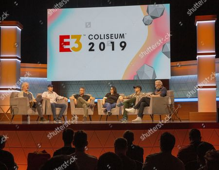 Stock Photo of (L-R) Stewart Burns, Jeff Westbrook, Rob LaZebnik, Carolyn Omine, Matt Selman, and narrator Brian Kelley speak during 'The Simpsons 30 Years of Video Games and Jokes about Video Games Panel' at the Novo Theatre during the Electronic Entertainment Expo (E3) in Los Angeles, California, USA, 11 June 2019. The E3 expo introduces new games and gaming devices and is an anticipated annual event among gaming enthusiasts and marketers. The event runs from 11 to 13 June.