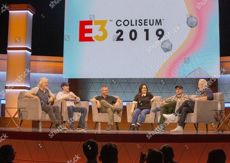 Stock Picture of (L-R) Stewart Burns, Jeff Westbrook, Rob LaZebnik, Carolyn Omine, Matt Selman, and narrator Brian Kelley speak during 'The Simpsons 30 Years of Video Games and Jokes about Video Games' panel at the Novo Theatre during the Electronic Entertainment Expo (E3) in Los Angeles, California, USA, 11 June 2019. The E3 expo introduces new games and gaming devices and is an anticipated annual event among gaming enthusiasts and marketers. The event runs from 11 to 13 June.