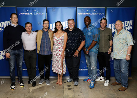 "Stock Picture of Daniel J. Goor, Joe Lo Truglio, Andy Sanberg, Melissa Fumero, Joel McKinnon Miller, Terry Crews, Luke Del Tredici, Dirk Blocker. Daniel J. Goor, from left, Joe Lo Truglio, Andy Sanberg, Melissa Fumero, Joel McKinnon Miller, Terry Crews, Luke Del Tredici and Dirk Blocker attend the ""Brooklyn Nine-Nine"" FYC Event at the UCB Sunset, in Los Angeles"