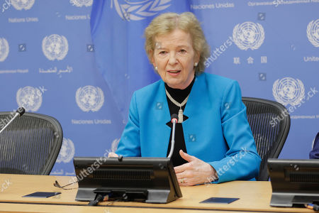 Mary Robinson briefs journalists in her capacity as Chair of The Elders, an independent group of global leaders working together for peace and human rights today at the UN Headquarters
