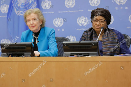 Mary Robinson (left) briefs journalists in her capacity as Chair of The Elders, an independent group of global leaders working together for peace and human rights. At right is Ellen Johnson Sirleaf, who also serves on the Elders Board today at the UN Headquarters