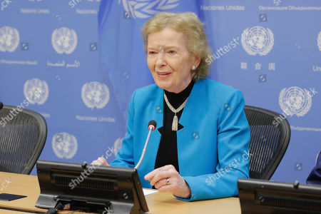 Stock Image of Mary Robinson briefs journalists in her capacity as Chair of The Elders, an independent group of global leaders working together for peace and human rights today at the UN Headquarters