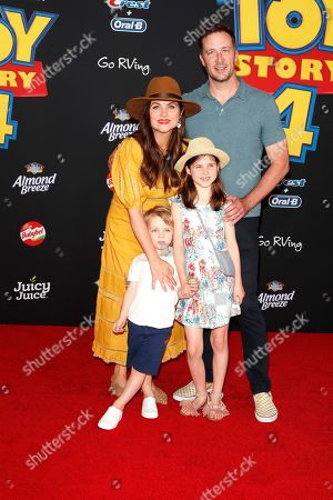 Tiffani Thiessen, her husband Brady Smith, son Holt Smith and daughter Harper Smith arrive for the world premiere of 'Toy Story 4' at the El Capitan Theatre in Hollywood, Los Angeles, California, USA, 11 June 2019. The movie opens in the USA on 21 June 2019.