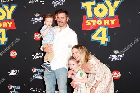 US talk show host Jimmy Kimmel, son William Kimmel, daughter Jane Kimmel and wife Molly McNearney arrive for the world premiere of 'Toy Story 4' at the El Capitan Theatre in Hollywood, Los Angeles, California, USA, 11 June 2019. The movie opens in the USA on 21 June 2019.