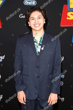"""Anthony Gonzalez arrives for the world premiere of """"Toy Story 4"""" at the El Capitan Theatre in Hollywood, Los Angeles, California, USA 11 June 2019. The movie opens in the US 21 June 2019."""