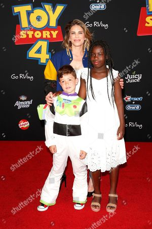 "US personal trainer, businesswoman, author and television personality Jillian Michaels arrives with her children Phoenix Michaels Rhoades and Lukensia Michaels Rhoades for the world premiere of ""Toy Story 4"" at the El Capitan Theatre in Hollywood, Los Angeles, California, USA 11 June 2019. The movie opens in the US 21 June 2019."