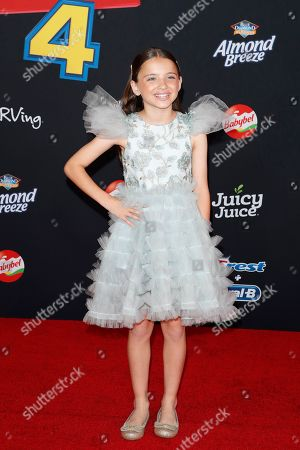 """Madeleine McGraw arrives for the world premiere of """"Toy Story 4"""" at the El Capitan Theatre in Hollywood, Los Angeles, California, USA 11 June 2019. The movie opens in the US 21 June 2019."""