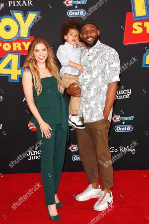 """Allison Holker, son Max and husband Stephen Boss arrive for the world premiere of """"Toy Story 4"""" at the El Capitan Theatre in Hollywood, Los Angeles, California, USA 11 June 2019. The movie opens in the US 21 June 2019."""