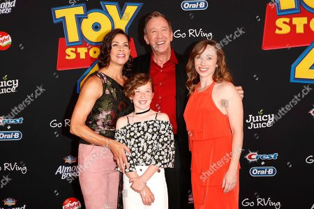 "Stock Image of Jane Hajduk, Elizabeth Allen Dick, US actor/cast member Tim Allen and Katherine Allen arrive for the world premiere of ""Toy Story 4"" at the El Capitan Theatre in Hollywood, Los Angeles, California, USA 11 June 2019. The movie opens in the US 21 June 2019."