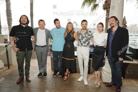 Stock Picture of Director Kyle Newacheck, Dany Boon, Adam Sandler, Jennifer Aniston, Luis Gerardo Mendezm, Shioli Kutsuna and Writer James Vanderbilt