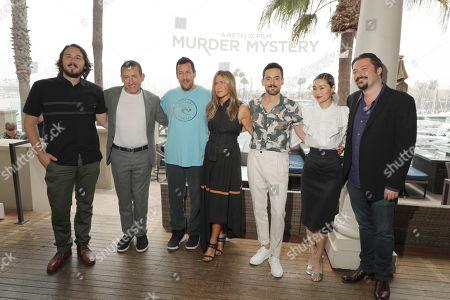 Stock Image of Director Kyle Newacheck, Dany Boon, Adam Sandler, Jennifer Aniston, Luis Gerardo Mendezm, Shioli Kutsuna and Writer James Vanderbilt