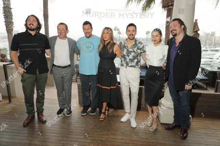 Stock Image of Director Kyle Newacheck, Dany Boon, Adam Sandler, Jennifer Aniston, Luis Gerardo Mendezm, Shioli Kutsuna and Writer James Vanderbilt