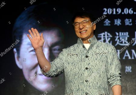 """Hong Kong actor and singer Jackie Chan poses for the media during a promotion event announcing his new album """"I AM ME"""" in Taipei, Taiwan"""