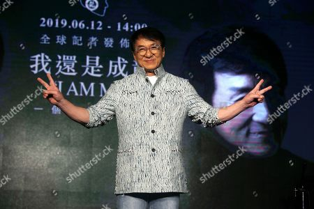 """Hong Kong actor and singer Jackie Chan poses for the media during a media event announcing his new album """"I AM ME"""" in Taipei, Taiwan"""