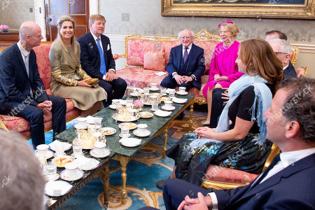 King Willem-Alexander and Queen Maxima of the Netherlands with President Michael Higgins and his wife Sabrina Higgins at Presidential Palace Aras an Uachtarain, Dublin