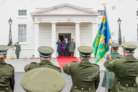 King Willem-Alexander of the Netherlands with President Michael Higgins and his wife Sabrina Higgins at Presidential Palace Aras an Uachtarain, Dublin