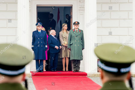 Queen Maxima of the Netherlands with President Michael Higgins and his wife Sabrina Higgins at Presidential Palace Aras an Uachtarain, Dublin