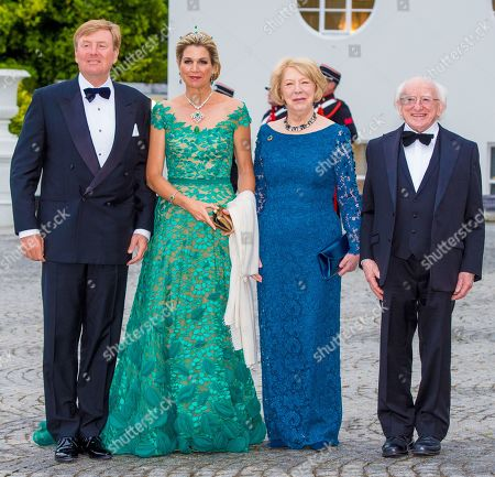 King Willem-Alexander and Queen Maxima of the Netherlands during state banquet with president Micheal Higgins and his wife Sabrina Higgins at Presidential Palace Aras an Uachtarain, Dublin