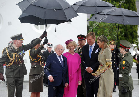 President of Ireland Michael D Higgins (L) and Mrs Sabina Higgins (2-L) greet Their Majesties King Willem-Alexander (2-R) and Queen Maxima (R) of the Netherlands to Aras an Uachtaran in Dublin City, Ireland,  12 June 2019.