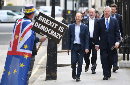 Former Defence Secretary Michael Fallon (R) arrives at Boris Johnson's launch of his bid to become the leader of the Conservative Party in London, Britain, 12 June 2019. Conservative members of Parliament have launched leadership campaigns to replace the resigning Conservative Leader and Prime Minister.