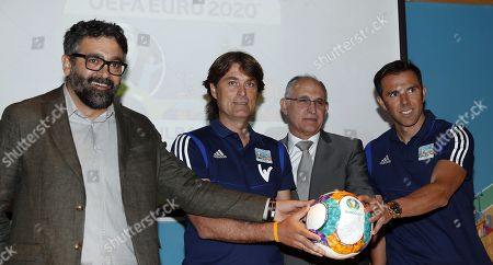 UEFA Euro 2020 chief of volunteering in Spain, Ramon Ribagorda (L) poses with UEFA Euro2020 Ambassadors Julen Guerrero (2-L), Carlos Marchena (R), and Vice President of the Royal Spanish Soccer Federation (RFEF), Andreu Camps (2-R) during the presentation of UEFA Euro 2020 host city Bilbao's Organizing Committee, in Bilbao, Spain 12 June 2019. Bilbao is one of the 12 host cities for the UEFA Euro 2020 that will take place from 12 June to 12 July 2020.