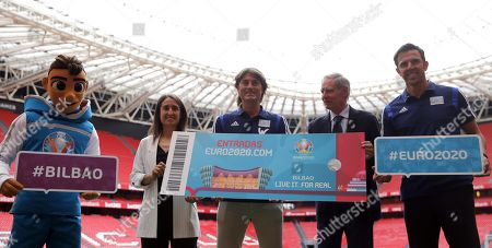Stock Picture of UEFA Euro 2020 Ambassadors Julen Guerrero (C) and Carlos Marchena (R), UEFA Euro 2020 mascot 'Skillzy' (L), former soccer player Txetxu Rojo (2-R) and soccer player Iraide Iturregui pose during the presentation of UEFA Euro 2020 host city Bilbao's Organizing Committee, in Bilbao, Spain 12 June 2019. Bilbao is one of the 12 host cities for the UEFA Euro 2020 that will take place from 12 June to 12 July 2020.