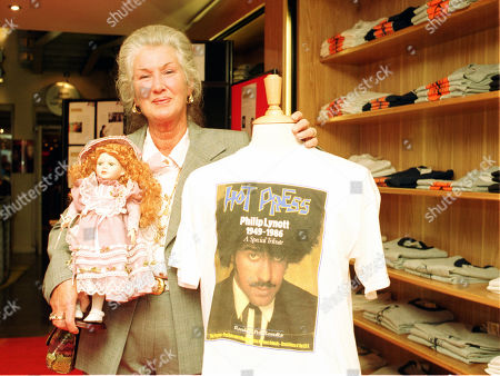 Philomena Lynott with a Doll called Rosalie which was sent by a fan from the USA and a Tee shirt with her son Phil Lynott.