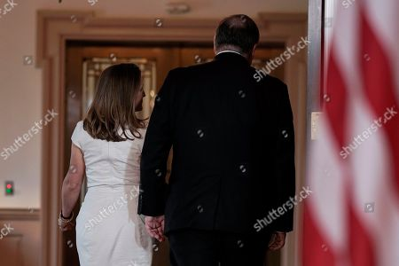 Secretary of State Mike Pompeo, right, leaves with Canadian Foreign Minister Chrystia Freeland, at the Department of State in Washington