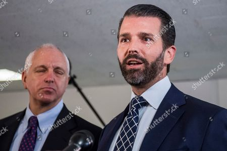 Donald Trump Jr. (R), son of US President Donald J. Trump, departs following a closed meeting with members of the Senate Intelligence Committee on Capitol Hill in Washington, DC, USA, 12 June 2019. Senate Intelligence Committee Chairman Richard Burr (R-NC) issued a subpoena requesting follow up to previous testimony from Trump Jr.