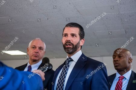 Donald Trump Jr., son of US President Donald J. Trump, departs following a closed meeting with members of the Senate Intelligence Committee on Capitol Hill in Washington, DC, USA, 12 June 2019. Senate Intelligence Committee Chairman Richard Burr (R-NC) issued a subpoena requesting follow up to previous testimony from Trump Jr.